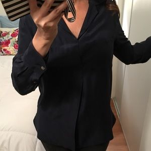 Vince dark blue silk blouse